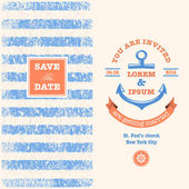 Nautical wedding invitation with designed nautical elements Sailor theme