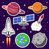 Collection of spaceships and planets space theme