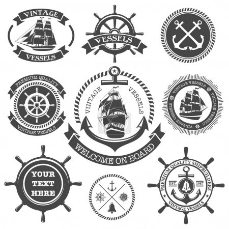Illustration for Set of vintage nautical labels, icons and design elements - Royalty Free Image