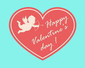 Happy Valentine's Day card with cupidon silhouette