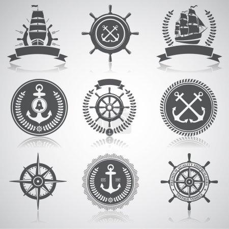 Set of nautical emblems, labels and esignaed elements, 5