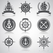 Set of nautical emblems labels and esignaed elements 5