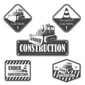 Satz unter Bau Embleme, Etiketten und gestaltete Elemente