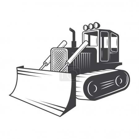 Vector illustration of bulldozer. Black and white