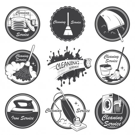 Illustration for Set of cleaning service emblems, labels and designed elements. Also can be used as logos for your company or single project. All elements are editable. - Royalty Free Image