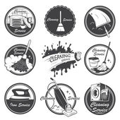 Set of cleaning service emblems labels and designed elements
