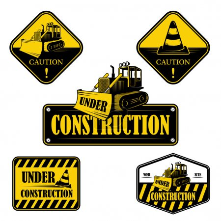 Set of under construction emblems, labels and designed elements 2