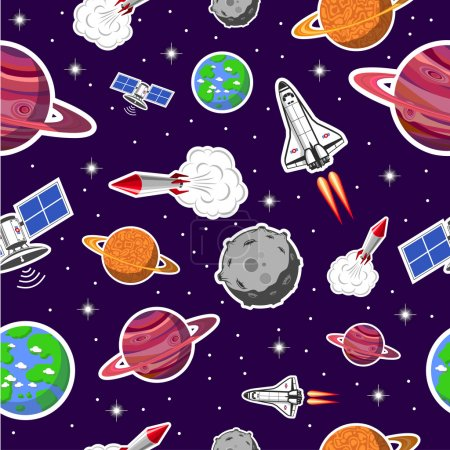 Illustration for Space seamless pattern - Royalty Free Image