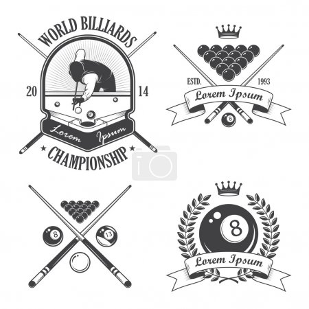Set of billiards emblems labels and designed elements