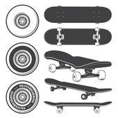 Set of skateboards and skateboarding wheels