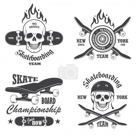 Illustration for Set of skateboarding emblems, labels and designed elements. Set 1 - Royalty Free Image