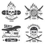 Set of skateboarding emblems, labels and designed ...