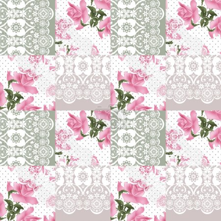 Patchwork seamless white lace retro pink roses pattern