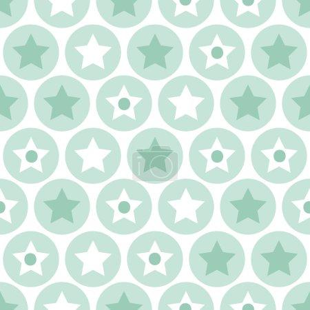 Illustration pour Enfants géométriques cercles turquoise et étoiles motif sans couture sur fond blanc - image libre de droit