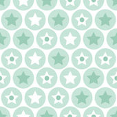 Geometric kids turquoise circles and stars seamless pattern on white background