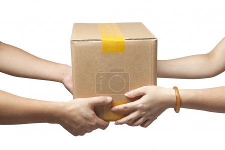 Hands to receive a parcel