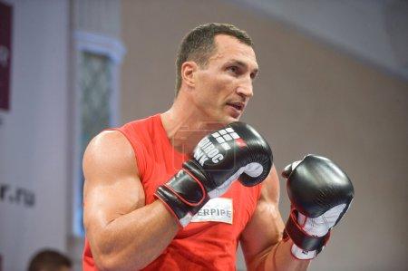 Ukrainian boxer Vitali Klitschko open training session before the fight with the Russian boxer Povetkin