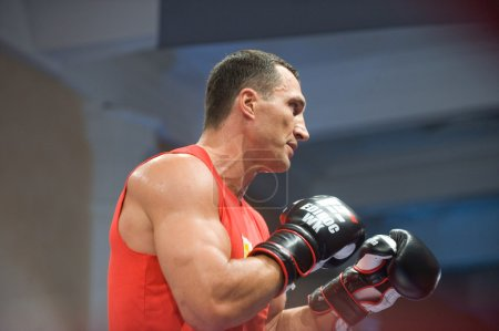 Boxer Vitali Klitschko open training session before the fight with Povetkin, Moscow