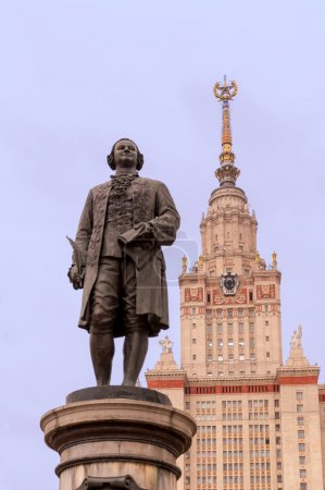 Mikhail Lomonosov statue and Moscow State University building
