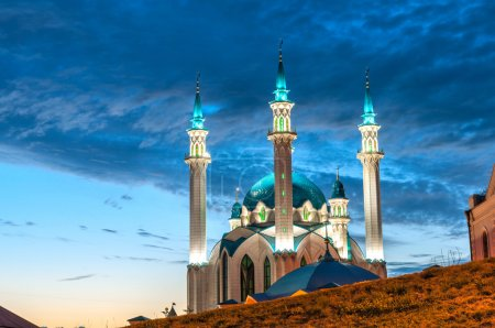 "Mosque ""Kul Sharif"" at night in Kazan Kremlin, Tatarstan, Russia"
