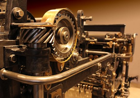 Old printing press, mechanical gears