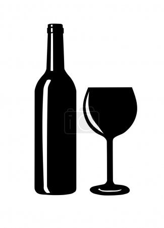 Wine bottle and glass silhouette.