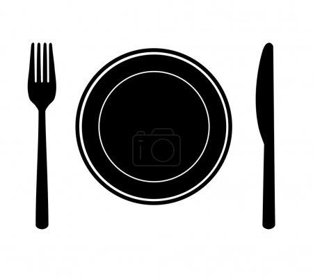 Illustration pour Assiette avec couteau et fourchette - silhouette . - image libre de droit