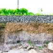Damage the asphalt road cut of soil layer with dif...