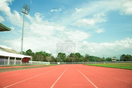 Photo for Empty stadium arena and race running track treadmill background - Royalty Free Image