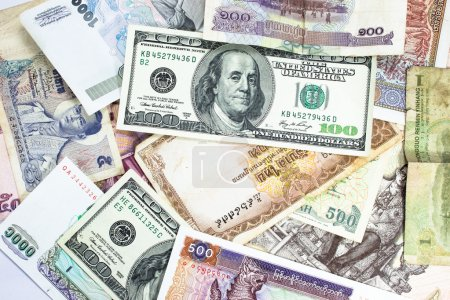 Photo for A collection of various currencies from countries the globe - Royalty Free Image