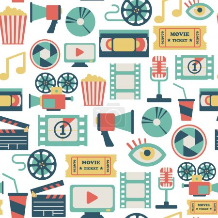 Seamless pattern with flat movie icons...