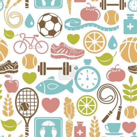 Illustration for Seamless pattern with healthy lifestyle icons - Royalty Free Image