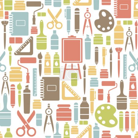 Seamless pattern with drawing icons