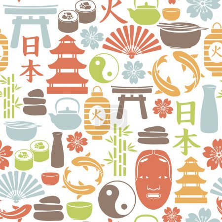 Illustration for Seamless pattern with asian icons - Royalty Free Image