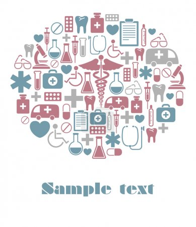 Illustration for Vector card with medical icons - Royalty Free Image