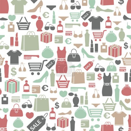 Photo for Seamless vector background with colorful shopping icons - Royalty Free Image