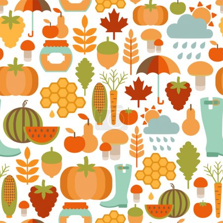 Seamless pattern with autumn icons
