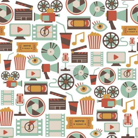 Illustration pour Modèle sans couture avec des icônes de cinéma rétro - image libre de droit
