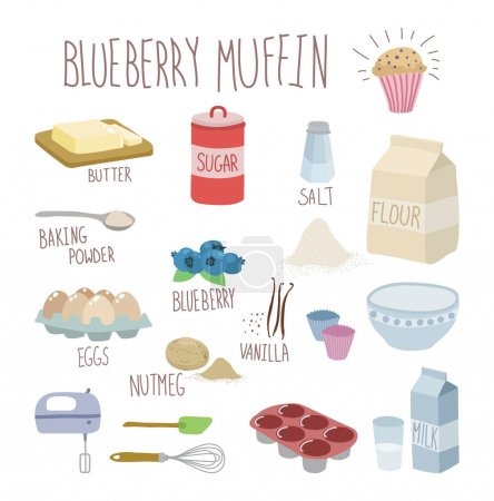 Illustration for Blueberry muffin recipe - Royalty Free Image