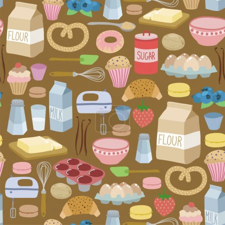 Illustration for Seamless pattern with cooking ingredients - Royalty Free Image