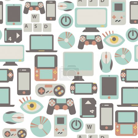Illustration for Seamless pattern with game icons - Royalty Free Image