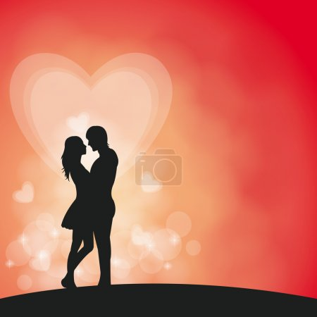 Illustration for Romantic couple in vector background - Royalty Free Image