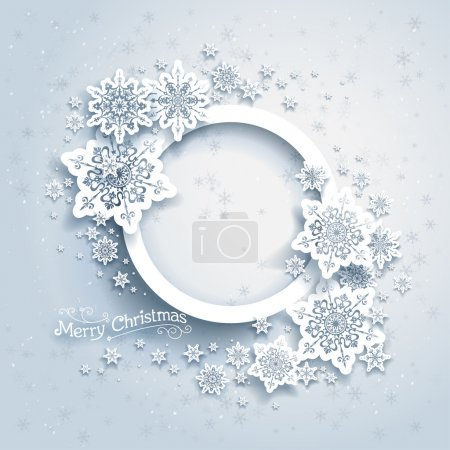 Christmas frame on snow background