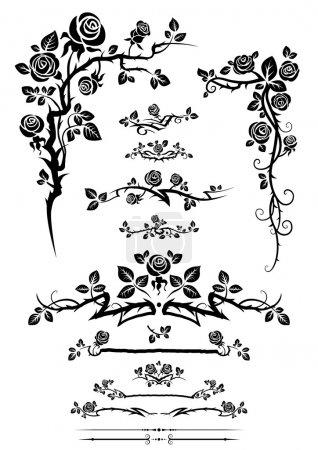 Сalligraphic elements set with roses.