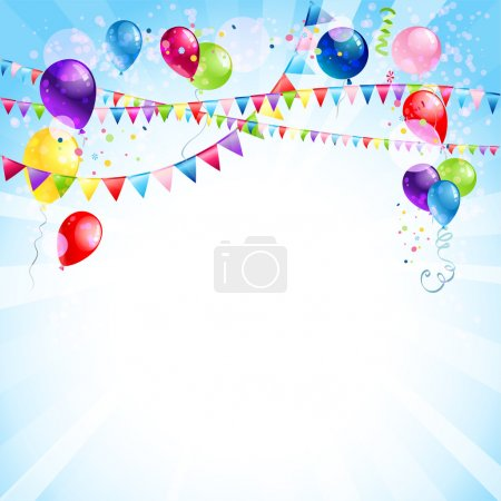 Illustration for Blue holiday background with balloons - Royalty Free Image