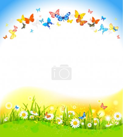 Illustration for Summer background with butterflies and flowers - Royalty Free Image