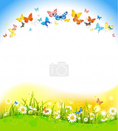 Illustration pour Fond de l'été avec des papillons et fleurs - image libre de droit