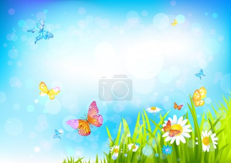 Illustration for Summer sunny background with with beautiful flowers and butterflies - Royalty Free Image