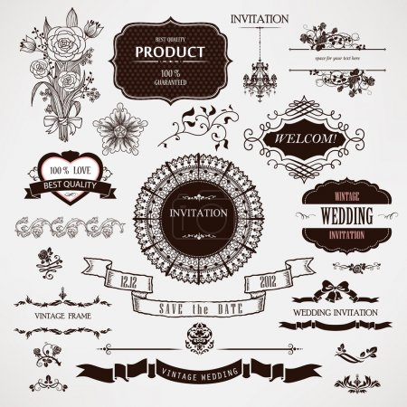 Vector wedding design elements and calligraphic page decorations