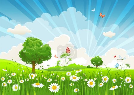 Illustration for Summer vector landscape with trees and meadow of flowers eps1 - Royalty Free Image